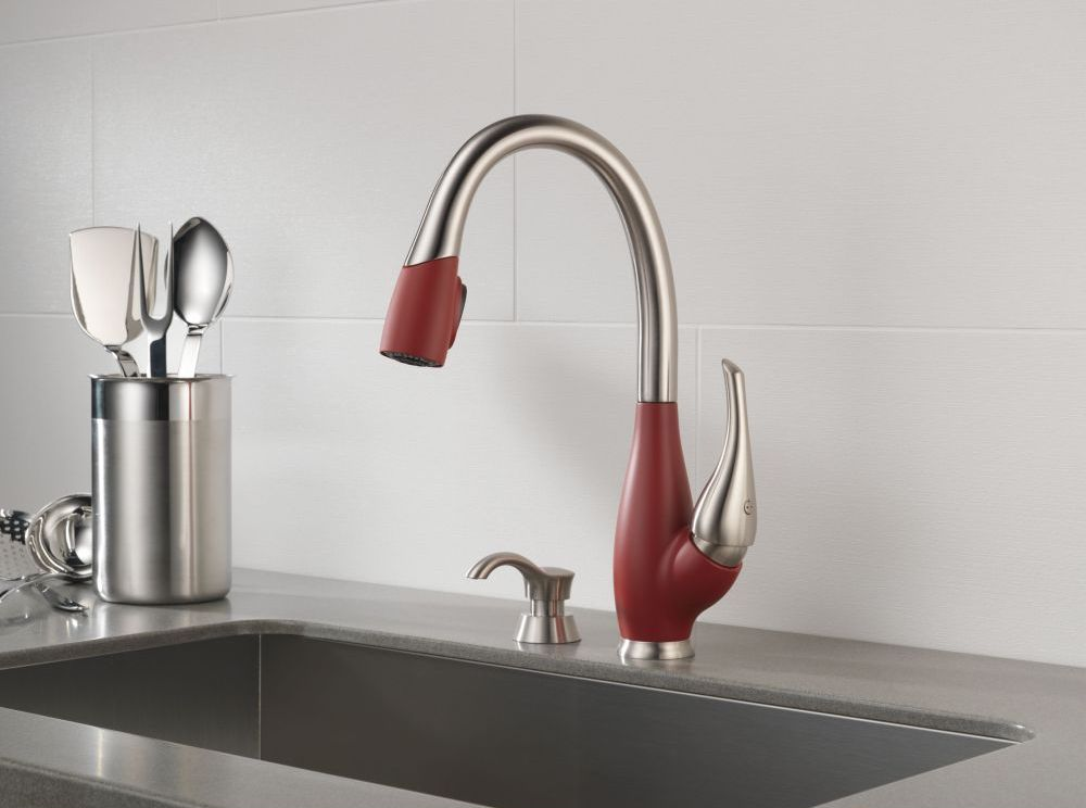 Red Delta Kitchen Faucet